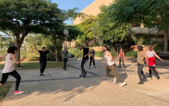 Rivi Diamond, Open Floor Teacher and her acting students class in an Open Floor outdoor session after returning from lockdown